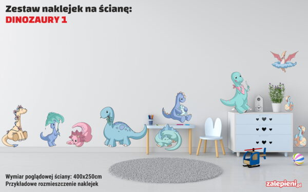 Naklejki XXL na ścianę Dinozaury 1 - poglądowe