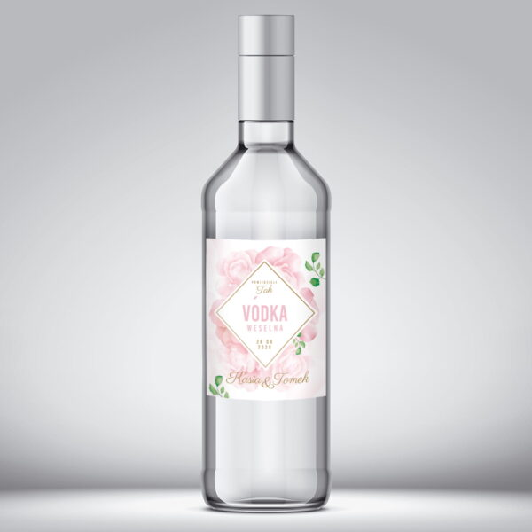 Etykieta na wódkę weselną wzór 9