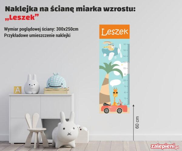 Naklejka miara wzrostu Leszek - poglądowe