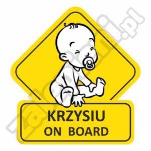 Naklejka Krzysiu on board