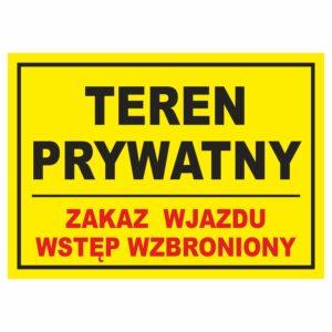 teren prywatny zakaz wjazdu 2 żółta