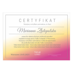Certyfikat - Ukończenie kursu 2