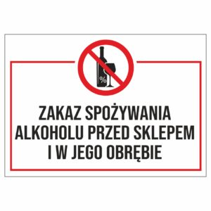 zakaz spożywania alkoholu przed sklepem