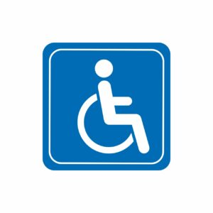 niepełnosprawni inwalida naklejka 90x90 mm