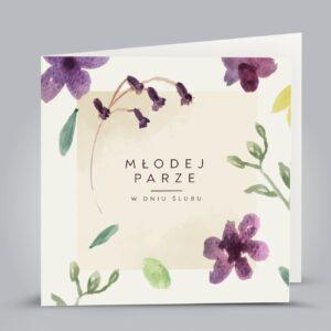 kartka z fioletowymi kwiatkami