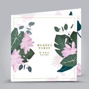 kartka z motywem kwiatów i liści