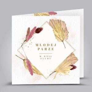 kartka z motywem złotych liści