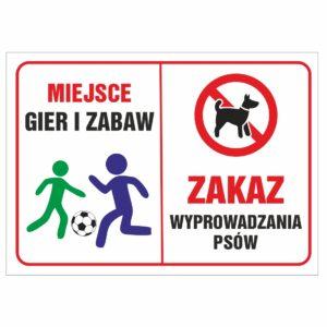 Miejsce gier i zabaw zakaz wyprowadzania psów